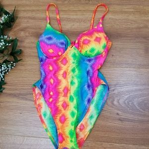 Vintage Neon Tie Dye Hi Cut One Piece Swimsuit